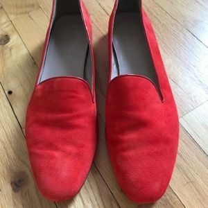 Red suede J. Crew Loafers